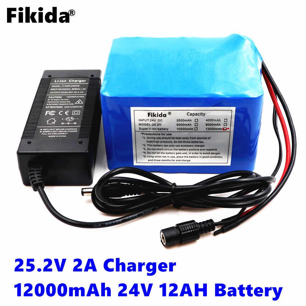 Fikida 24 فولت 12ah 6S6P بطارية ليثيوم 25.2 فولت 12000 مللي أمبير بطارية ليثيوم ل حزمة بطارية دراجة هوائية 350 واط e الدراجة 250 واط موتور wit