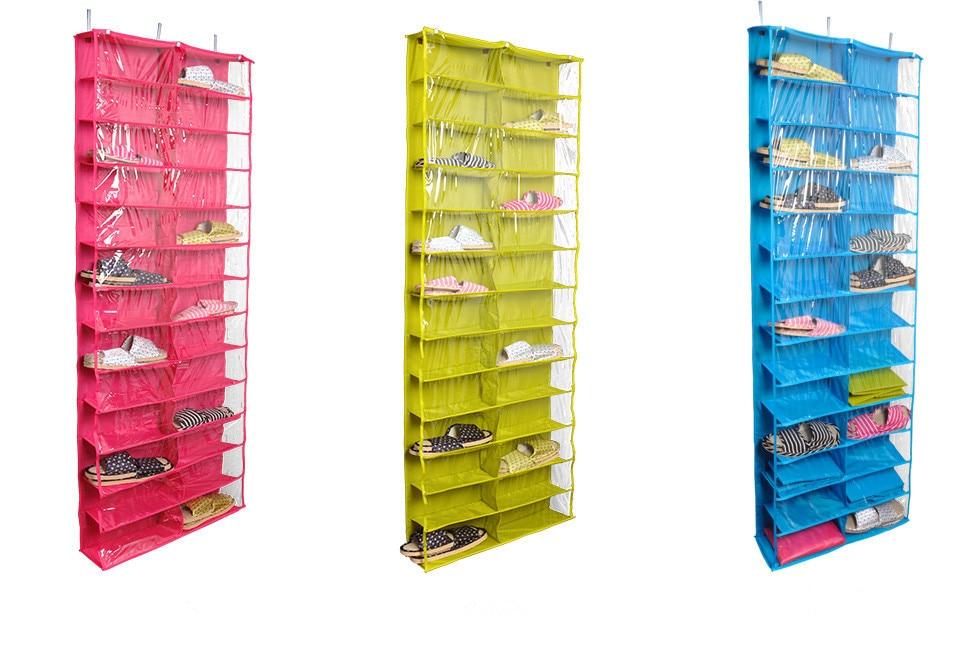 Closetware Clear Over-the-Door 26-taskuinen kenkäjärjestäjä, pestävä polyesterikenkä teline, ripustettava kenkä-säilytyslaukku Paras myyjä