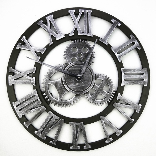 3D Retro Gear Wall Clock Wandklok Wall Clocks Saat Vintage Watch