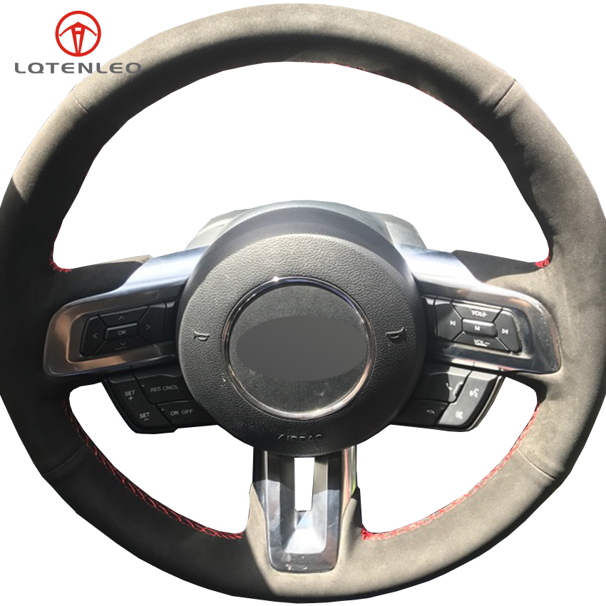 LQTENLEO Black Suede DIY Hand stitched Car Steering Wheel Cover For Honda Civic Civic 8 2006