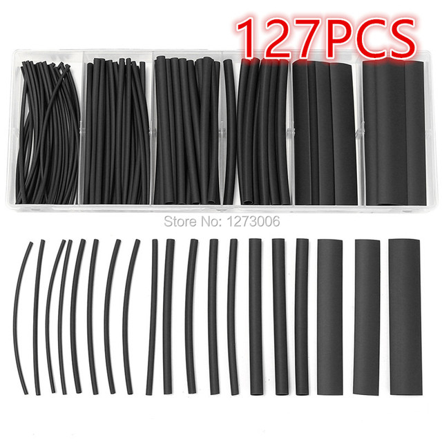 Top Quality 127Pcs/Set Black Heat Shrink Tubing 2:1 Car Cable ...