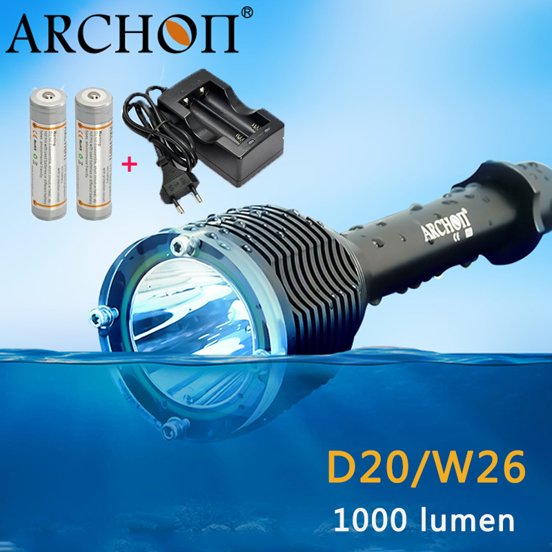 ARCHON D20/W26 Diving flashlight CREE XM-L T6 1000LM 100M underwater waterproof Professional Diving torch + 18650 Charge+Battery
