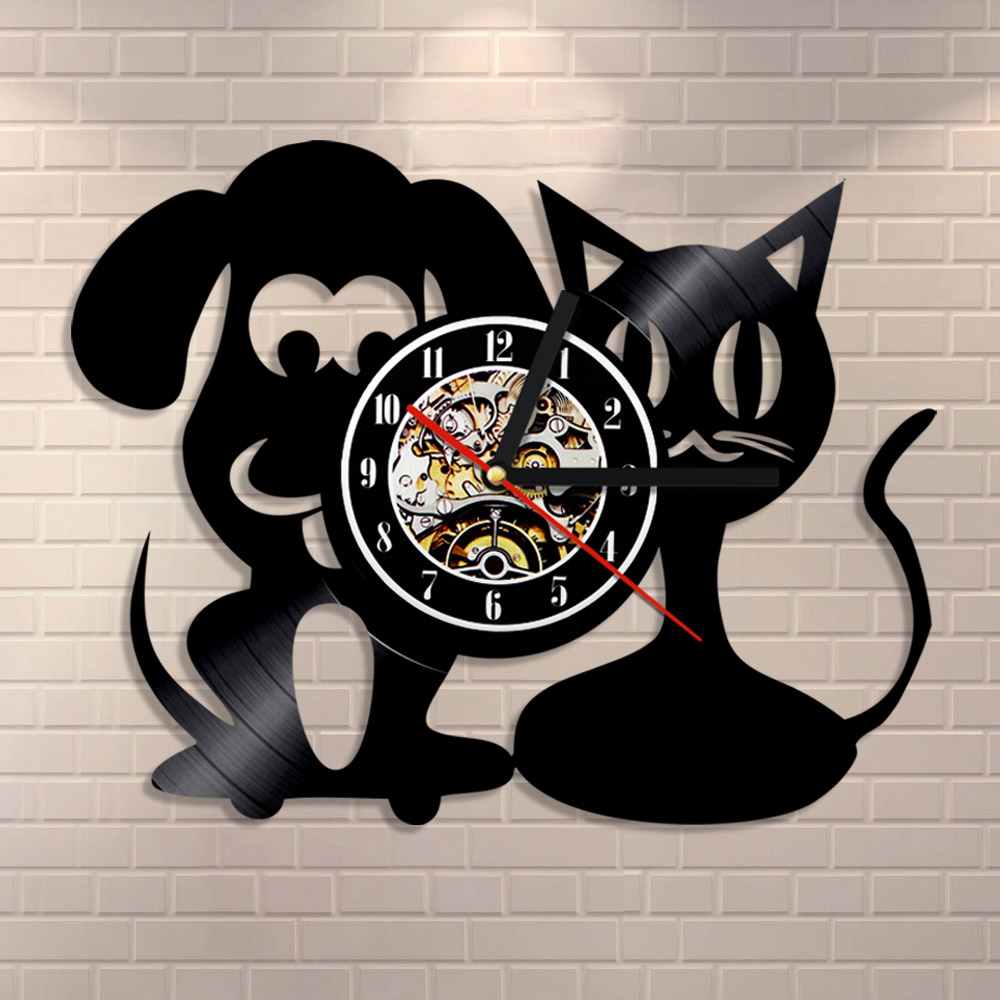 1piece veterinary clinic vinyl record wall clock love dog cat 1piece veterinary clinic vinyl record wall clock love dog cat animal decor fan art handmade unique design original gift clock in wall clocks from home amipublicfo Gallery