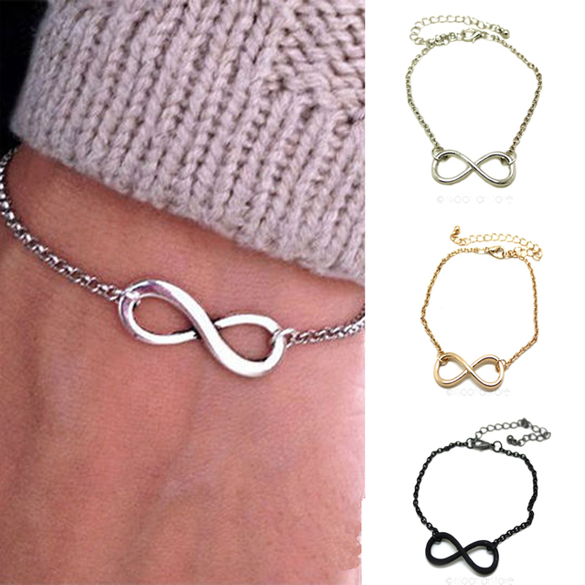 2015 Vintage Infinity Sign Bracelet Metal Infinite Chain Bangle Girls Punk Hand Chain for Lovers LS*MPJ018#A2