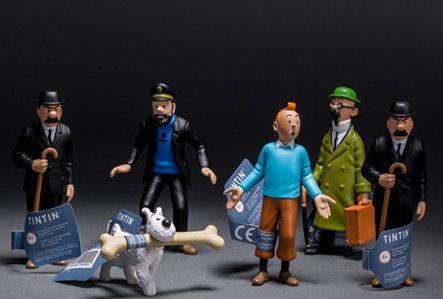 6Pcs//set Figurine Tintin Milou Capitaine Haddock Jouet Cadeau Animé Collectionne