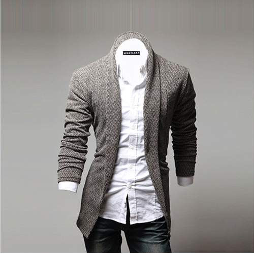 2018 Men's Fashion Open Shawl Solid Color Slim Knitted Cardigan ...