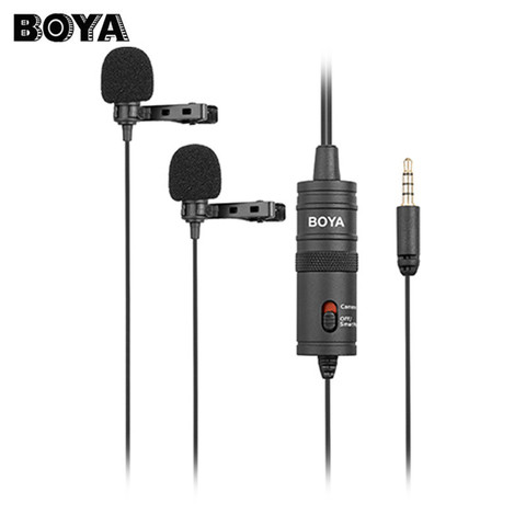 BOYA BY-M1DM Dual Omnidirectional Lavalier Microphone Clip-on Lapel Mic for Iphone Smartphones Cameras Camcorders Audio Recorder Lahore