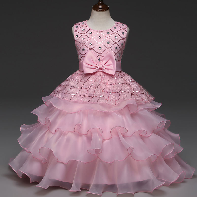 Girls Layered Dress Beaded Princess Dress with Bow and Lace Pink Cute Ballgown Wedding Dresses vestido de festa vestidos ninas pearl and layered lace detail pullover