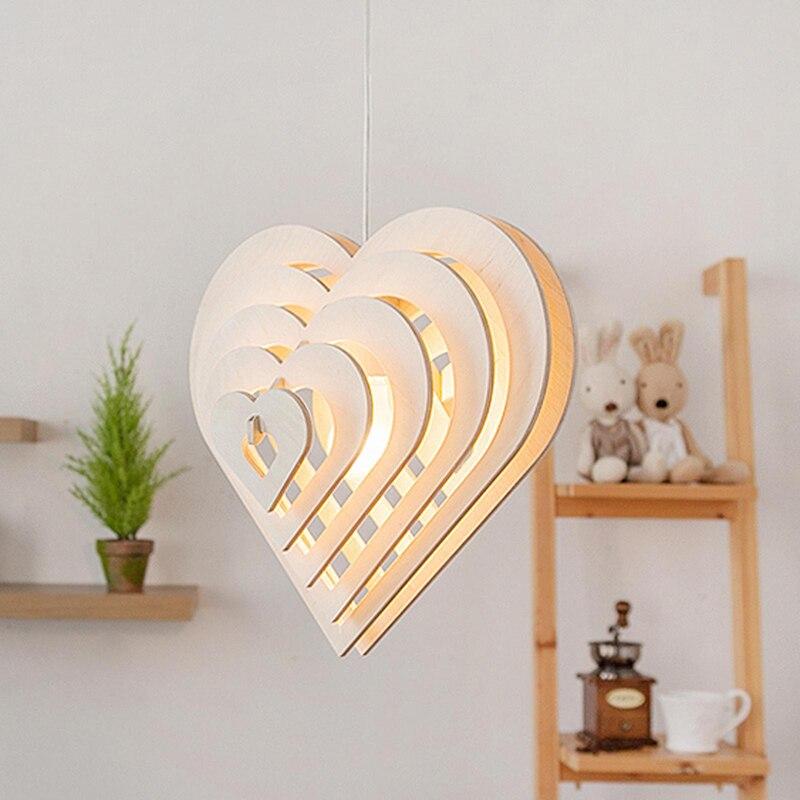 Moderne simple en forme de coeur en bois art pendentif lumières moderne salon chambre LED droplight café bar décoration éclairage - 3