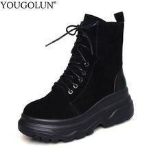 Cow Suede Ankle Boots Women New Autumn Winter Platform Shoes A294 Fashion Ladies Cross Strap Black Round Toe Flat Short Boots