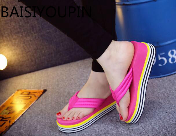 79b4c763ca56df Summer High Heels Flip-flops Sandals Thick Wedge Bottom Women Beach Shoes  Sandals Female Fashion