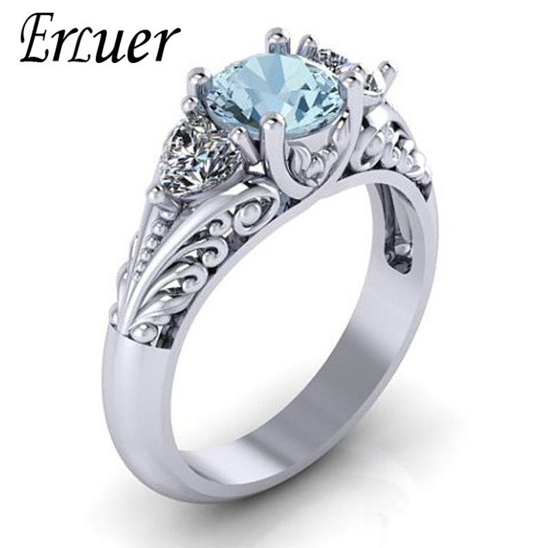 ERLUER Classic Elegant Silver color Engagement Rings For Women Lady Wedding Finger Gem Crystal Zircon Trendy Love Gift Ring