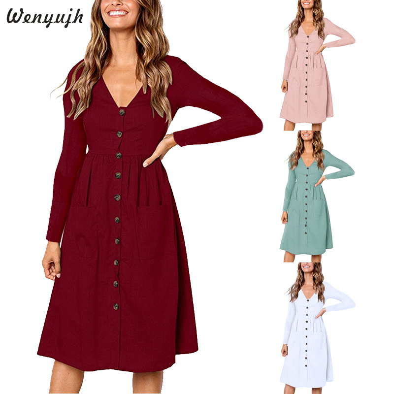 Wenyujh 2020 Fashion Women Autumn Long Sleeve Button  Cocktail Party Dress Sexy V-Neck Solid Casual Shirts Dress Female Winter