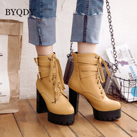 BYQDY Plus Size 34 48 Spring Winter Women's Ankle Boots Autumn Black 11cm High Heels Platform Booties Lace Up Woman Footwear