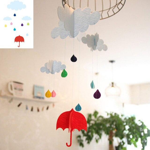 Cloud Rain Unbrella Felt Decoration Ornaments Baby Room Deco Flag DIY Home  Birthday Kindergarten Classroom Cute