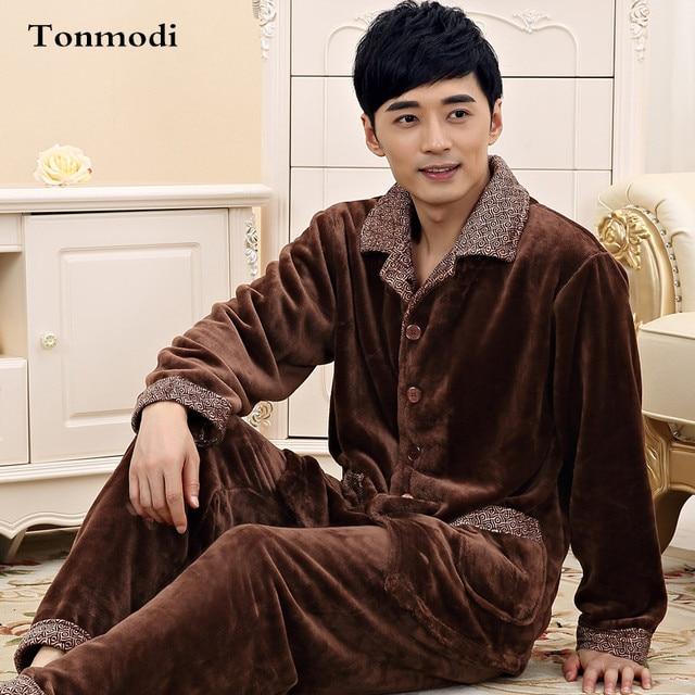 74c89e776bda Pajamas for men winter Long sleeve Thickening Flannel sleepwear ...