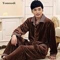 Pijamas para hombres de invierno de manga Larga Engrosamiento ropa de dormir de Franela coral polar camisón salón más tamaño conjunto de Pijama
