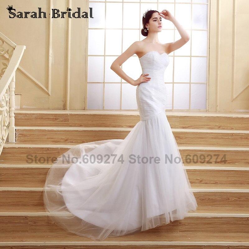 ₩Sample White Mermaid Wedding Dresses Tulle 2016 Fashionable Custom ...