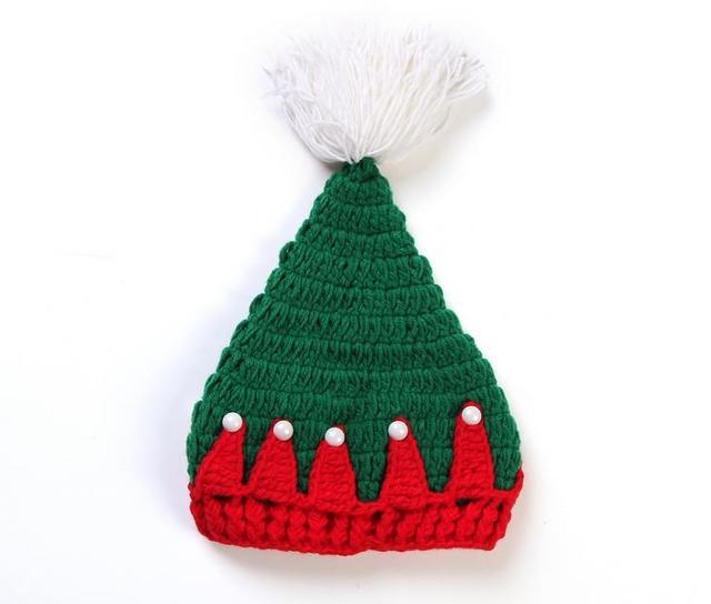Navidad estilo rojo verde árbol niños bebés niñas crochet sombrero ...