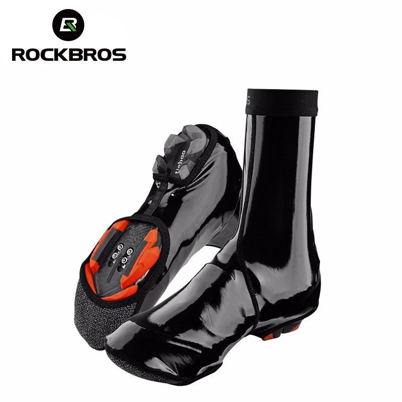 ROCKBROS Cycling Shoe Cover Winter Windproof MTB <font><b>Bike</b></font> <font><b>Equipment</b></font> Waterproof Overshoes Cycling Winter Warmer Boot Cover 2 Size image