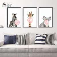 CREATE&RECREATE Animal Poster Nursery Decor Bubble Posters And Prints Wall Art Canvas Painting Decoration Pictures CR1810106002