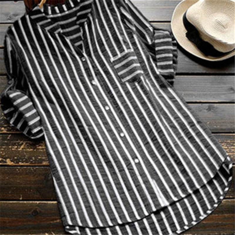 2019 Plus Size Womens Summer Striped V Neck Blouses Loose Office Camisa Listrada Com Decote Em V Tops Camicetta Tunic Shirts New