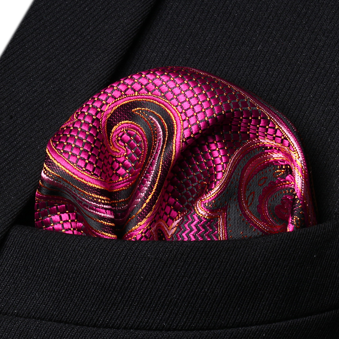 HP936H Pink Orange Paisley Men Silk Party Handkerchief Pocket Square Hanky