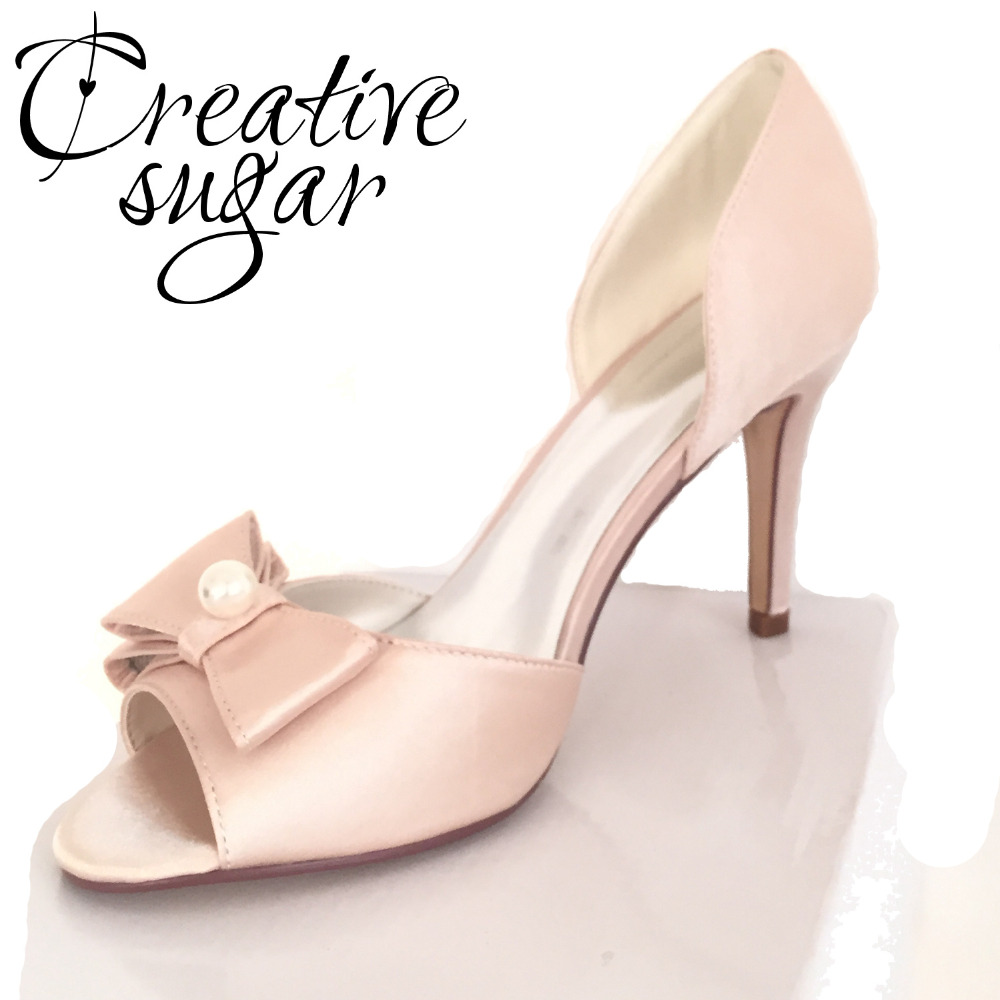 Creativesugarsatin D'orsay bow pearl open toe woman shoes bridal wedding party evening dress pumps lady heels white pink blue luxurious elegant ivory pearl wedding party dancing shoes bridal shoes pointed toe kitten heeled shoes woman lady dress shoes