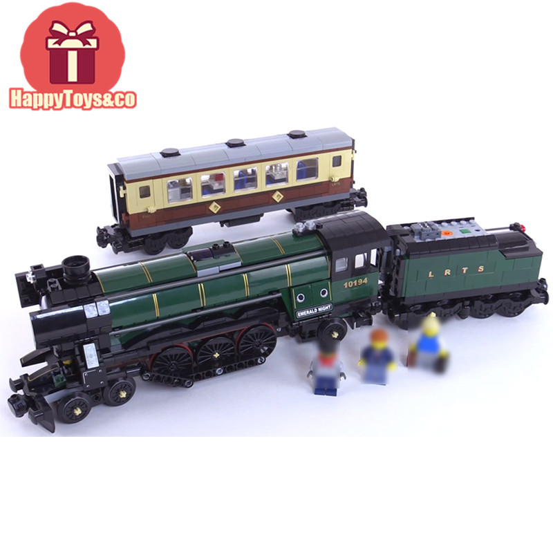 Legoing Technic Series 10194 1085Pcs Emerald Night train from 21005 toys For Children Gift 21005 Building Blocks Set