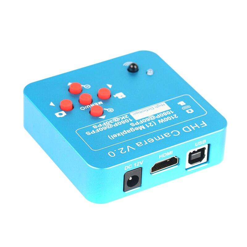 21MP 2 k HDMI Vidéo Microscope Caméra 1080 p 60FPS C-MOUNT Interface Panasonic Capteur Avec Télécommande 8g Mémoire carte