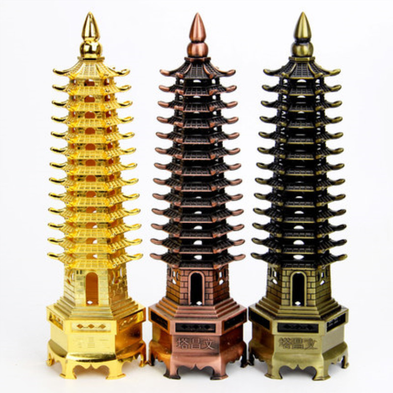 Artigianato in metallo Cina Pagoda Cultura Prosperità Piramide Modello di Eccezionale Wenchang Torre Complementi Arredo Casa