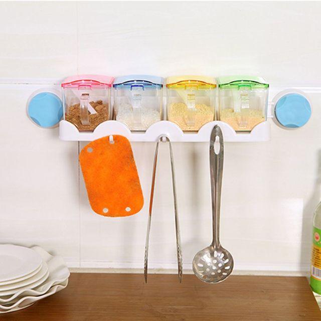 US $17.42 35% di SCONTO|Cucina Cottura di Plastica Trasparente Barattoli di  Sale Zucchero Condimento Box Condimento Pentola Spice Rack di Stoccaggio ...