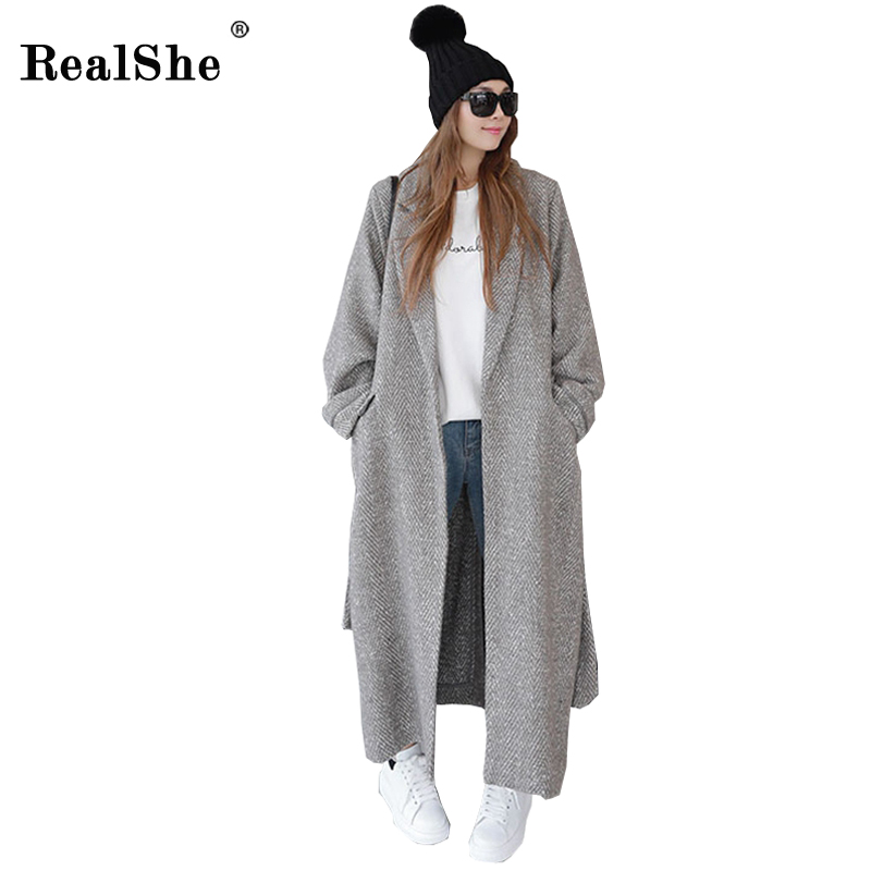 RealShe 2018 Hiver Manteau Femmes Revers Ceinture Poche Laine Mélange Manteau Oversize Longue Tranchée Manteau Outwear Laine Manteau Femmes