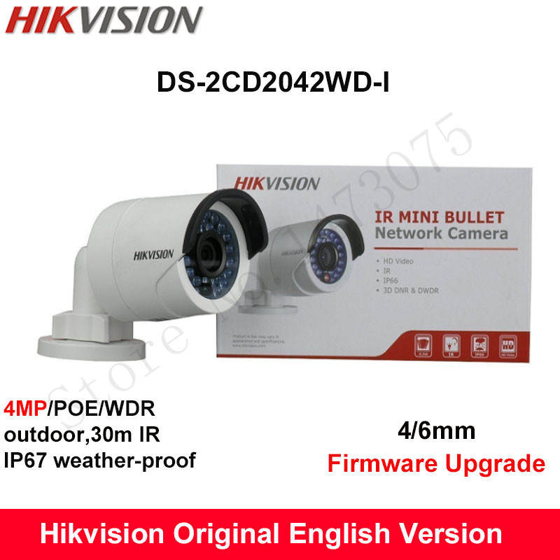 Hikvision Original English IP Camera DS-2CD2042WD-I 4MP Replace DS-2CD2035-I DS-2CD2032-I DS-2CD2032F-I CCTV bullet POE camera hikvision ds 2de7230iw ae english version 2mp 1080p ip camera ptz camera 4 3mm 129mm 30x zoom support ezviz ip66 outdoor poe
