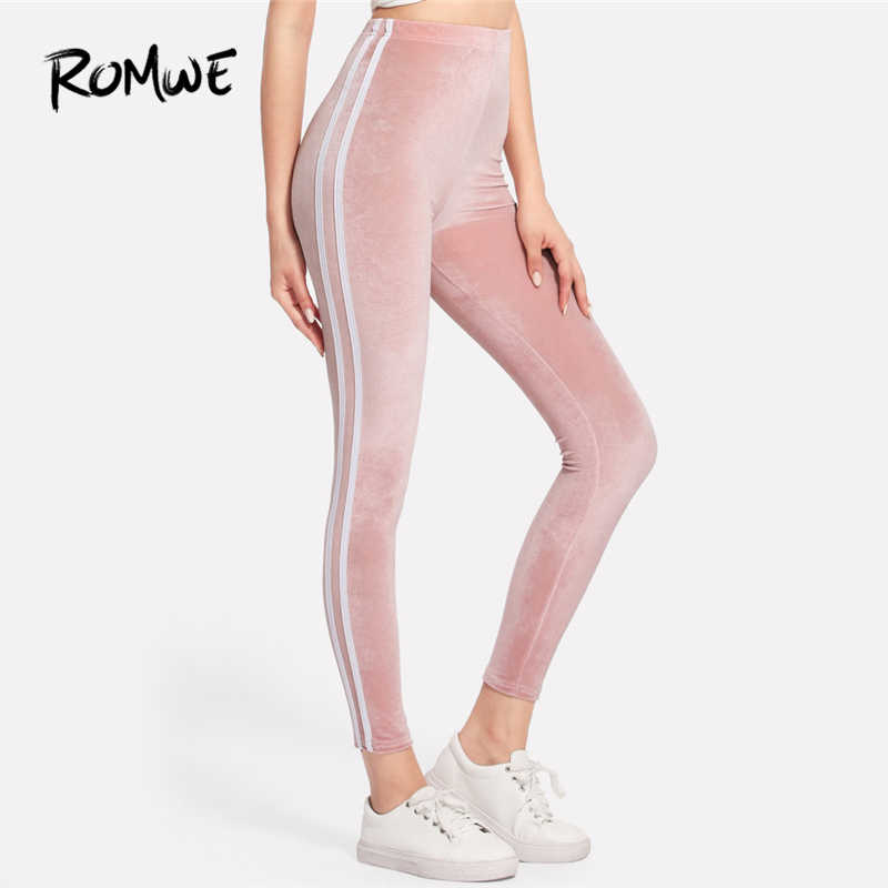 726b29b34a4cb8 ROMWE Pink Side Striped Velvet Leggings Women Casual Autumn Fashion Bottoms  Female Spring Sporty Clothes Ladies