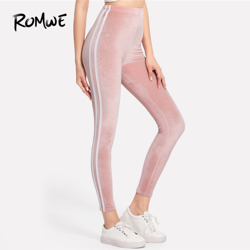 ROMWE Pink Side Striped Velvet   Leggings   Women Casual Autumn Fashion Bottoms Female Spring Sporty Clothes Ladies   Leggings   Pants
