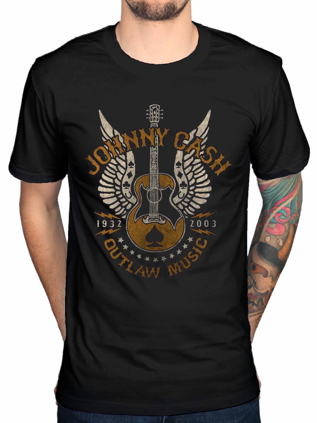 Johnny cash rebel t shirt logo - 2017 Cool Men Fashion Johnny Cash Outlaw T Shirt American Rebel Out Amoung The Stars Folsom Hipster Style Casual T Shirt