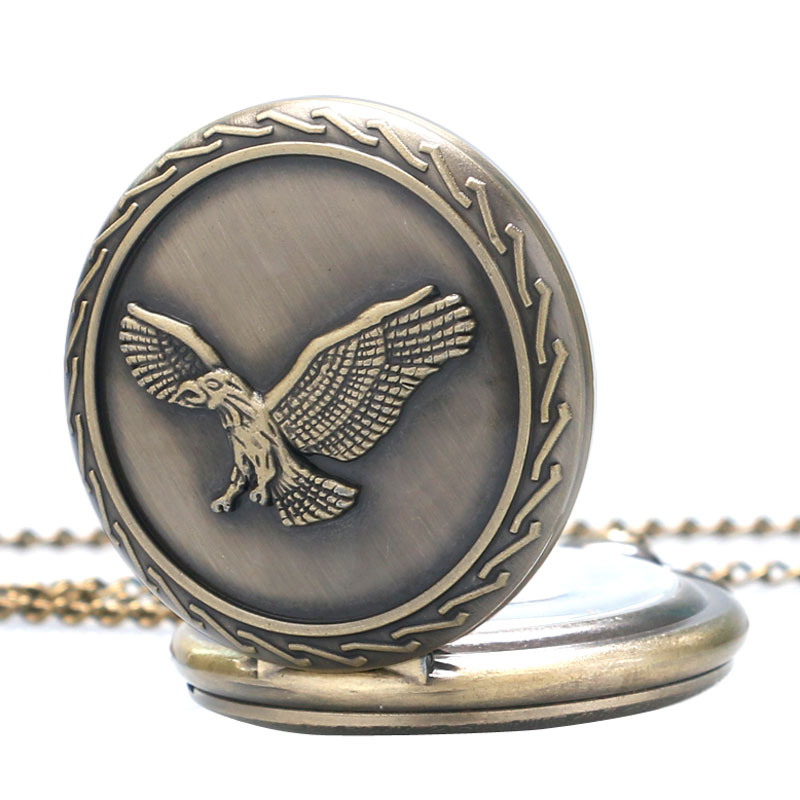 Vintage Bronze Awesome Cool Eagle Hawk Quartz Pocket Steampunk Watch Men Women Necklace Pendant with Chain Birthday Gifts P221 men pocket watch male necklace vintage quartz watches birthday party gifts eagle inscription tks197
