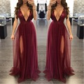 Red Sequin Deep Low V Neck Women Elegant Party Club Chiffon Long Dress Backless Sexy Maxi Dress