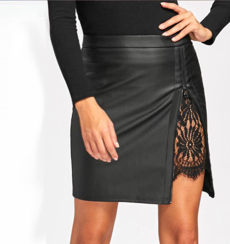 HOT Sexy Women OL Formal Lace Zipper Stretch High Waist Short PU Leather Pocket Bodycon Mini Skirt Pencil