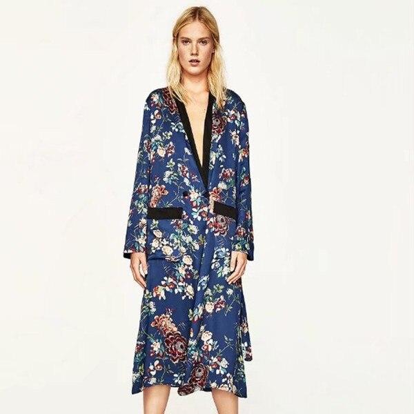 Verano Azul blusa de estampado Floral camisa larga sashes pocket cardigan kimono