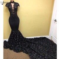 麻生ebi黒3dローズフラワーマーメイドウエディングドレス2018レース高襟ロングウエディングドレスショートスリーブナイジェリアセクシーなパーティードレス
