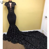 Aso Ebi Black 3D Rose Flower Mermaid Prom Dresses 2018 Lace High Collar Long Prom Gowns Short Sleeves Nigeria Sexy Party Dress