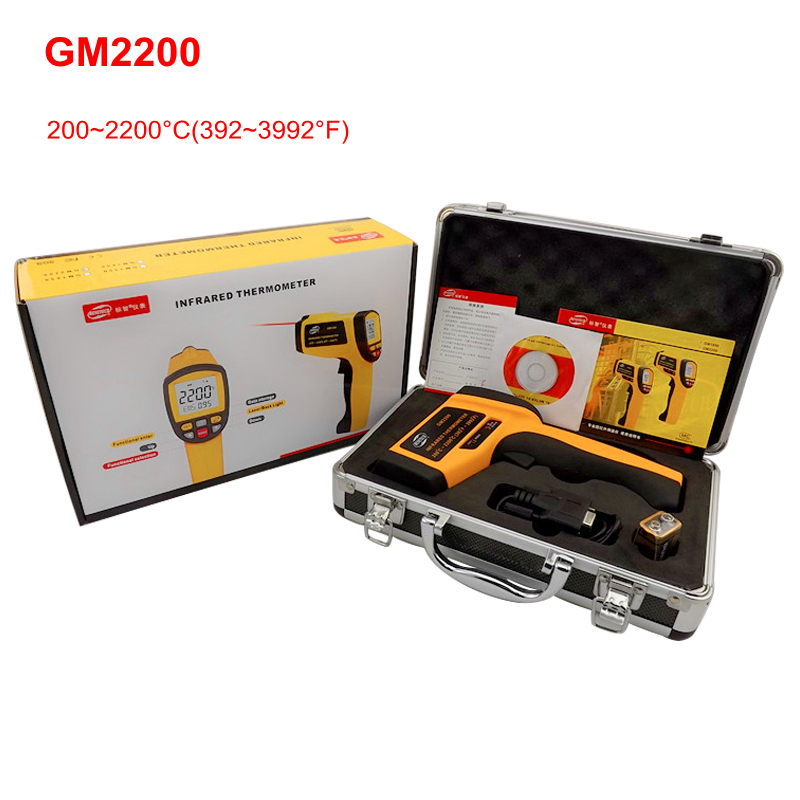 GM2200 Infrared Digital Temperature Meter Non-contact IR Laser Thermometer Pyrometer LCD Backlight EMS RS232 USB Recall + Box