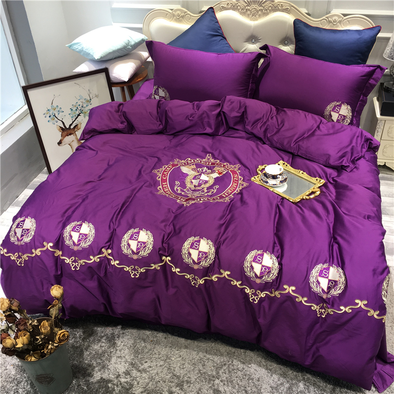 New Luxury Egypt Cotton Europe-USA Classics Bedding Set Embroidery Silky Duvet cover Bed Sheet Pillowcases Queen King size 4PcsNew Luxury Egypt Cotton Europe-USA Classics Bedding Set Embroidery Silky Duvet cover Bed Sheet Pillowcases Queen King size 4Pcs