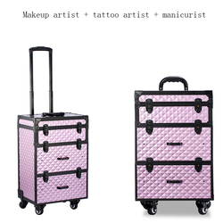 Vrouwen multi-layer grote capaciteit cosmetische case Box Nail tattoo Rolling bagage tas make-up case multifunctionele trolley koffer