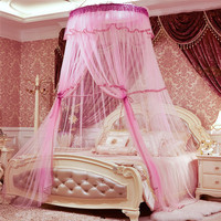 Princess Pastoral Lace Bed Canopy Mosquito Net Fit Crib Netting Heightened Round Hoop Mosquito Net Bedroom Bed Home Decor