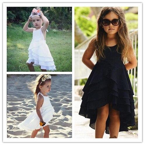 цена на Valentine  hot sale 2018 Summer  girls cotton princess 4 Layered dress kids beach dresses 360 degree hemline 1-7Y cute & fashion