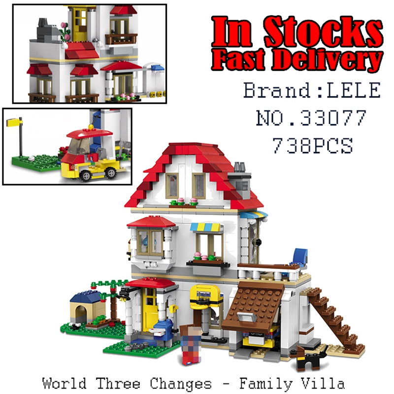 LELE Minecraft World Three Changes - Family Villa 33077 738PCS Building Blocks Bricks educational toys for children brinquedos lele my world power morse train building blocks kits classic educational children toys compatible legoinglys minecrafter 541 pcs