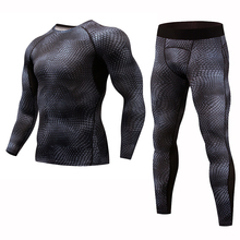 Snake skin Sport suit men fitness clothing Tight compression sport clothes Jogger Running Sets Quick Dry gym
